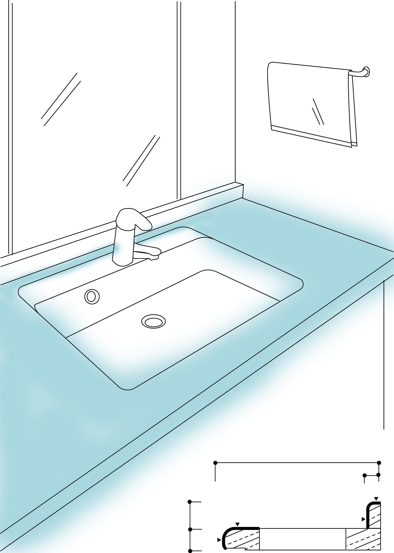 洗面カウンターイラスト図面