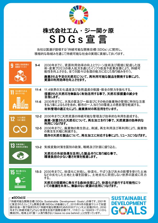 株式会社エム・ジー関ヶ原はこの度SDGs宣言を行いました。 当社は国連が提唱する「持続可能な開発目標(SDGs)」に賛同し、積極的な取組みを通じて持続可能な社会の実現に貢献してまいります。